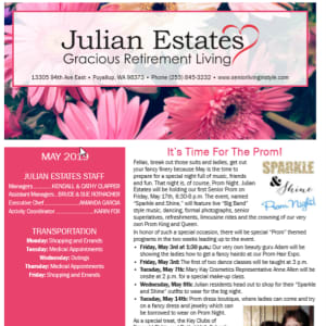May Julian Estates Gracious Retirement Living newsletter