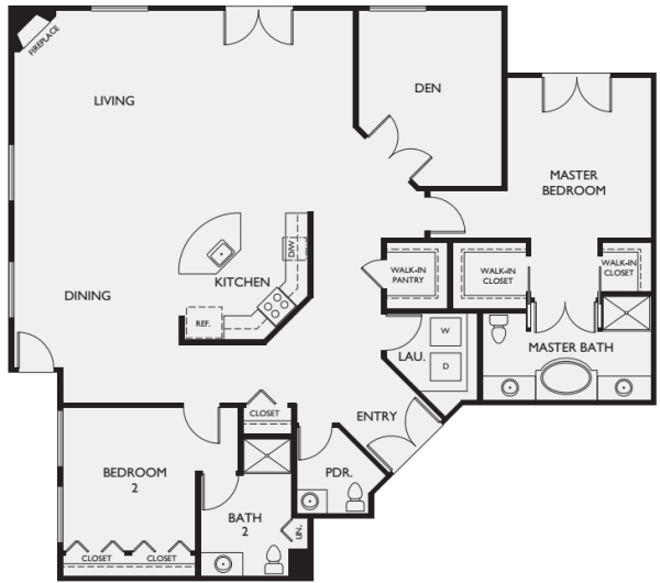 Two bedroom penthouse floor plans at The Bellettini in Bellevue, Washington