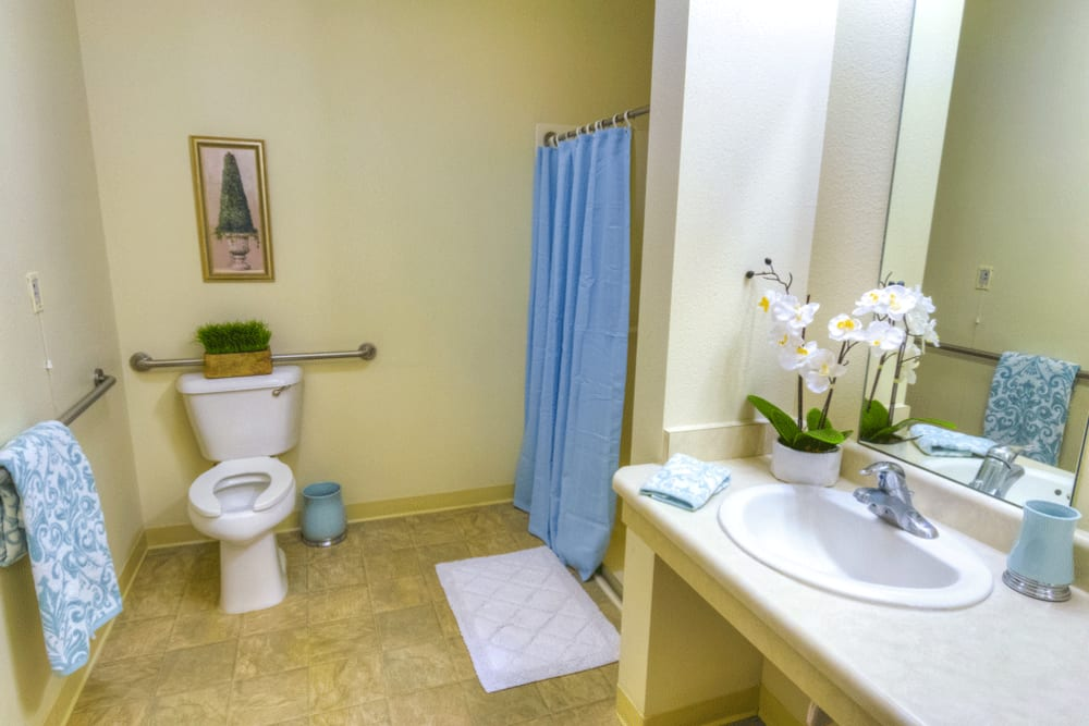 Private bathroom in assisted living apartment at The Meadows - Assisted Living in Elk Grove, California
