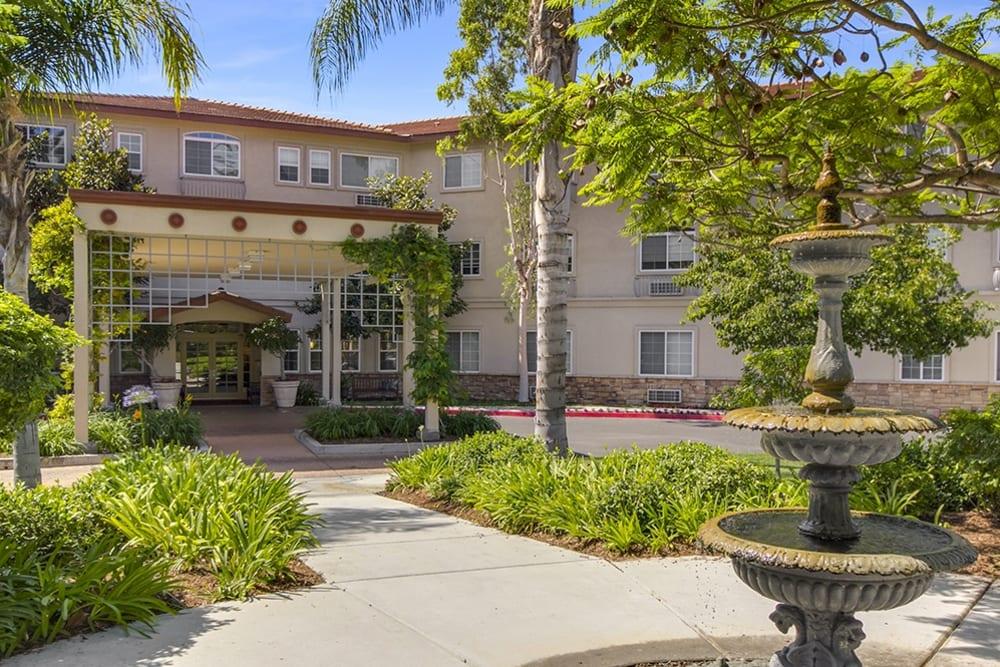 Main entrance to Merrill Gardens at Oceanside in Oceanside, California.