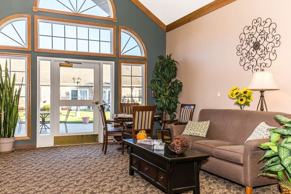Entry way to upscale senior living facility at Brookstone Estates of Mattoon North in Mattoon, Illinois