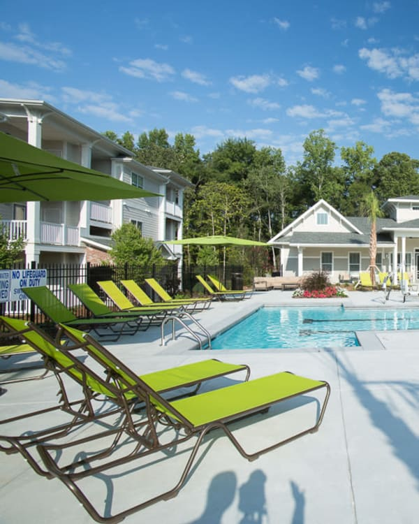 A sparkling pool at Ansley Commons Apartment Homes in Ladson, South Carolina
