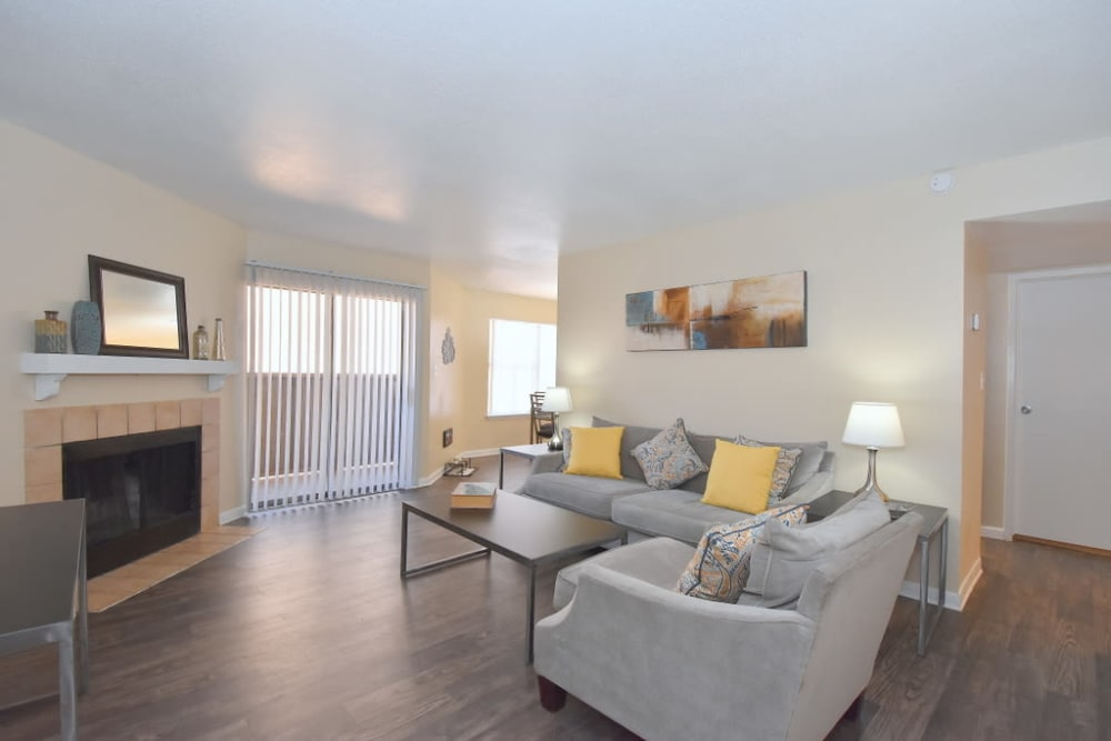 Bright living rooms at Green Meadows Apartments