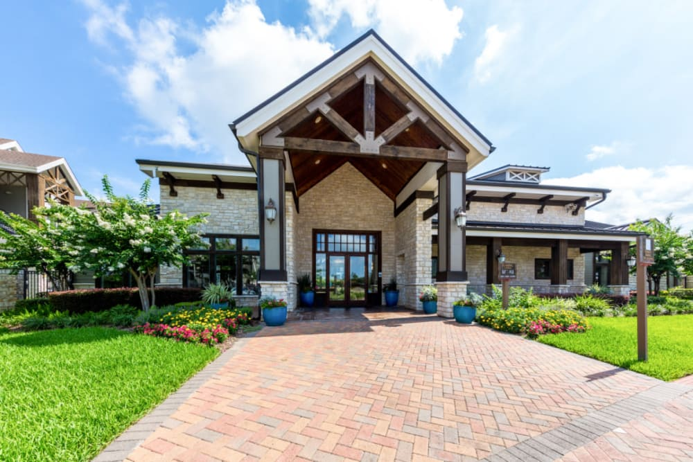 Clubhouse front entrance at Marquis at Sugar Land in Sugar Land, Texas