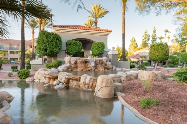 Outdoor space with pond feature at San Marin at the Civic Center in Scottsdale, Arizona