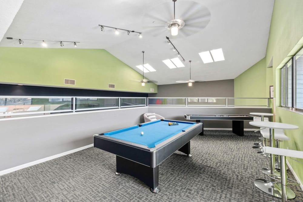 Pool table located in the clubhouse at WestEnd At 76Ten in Tampa, Florida