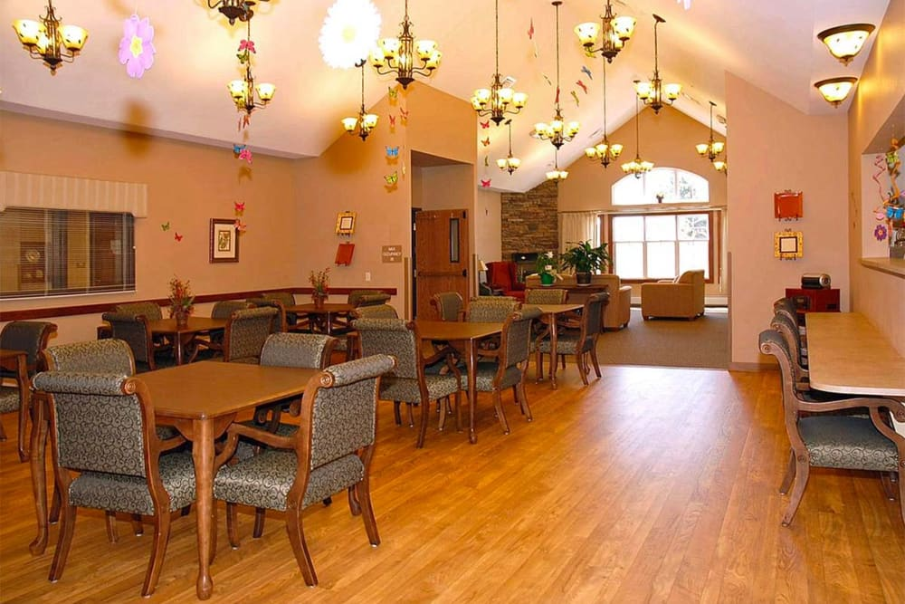 Activity room with vaulted ceiling at Milestone Senior Living in Eau Claire, Wisconsin.