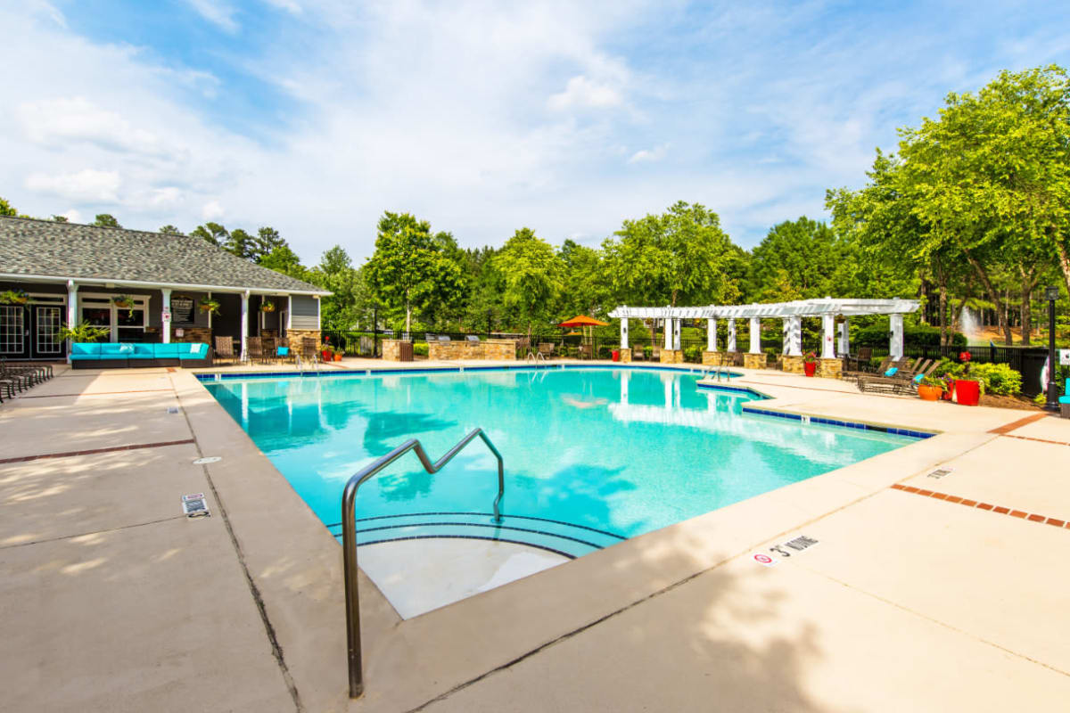 Steps leading into shallow part of sparkling pool at Marquis on Cary Parkway in Morrisville, North Carolina