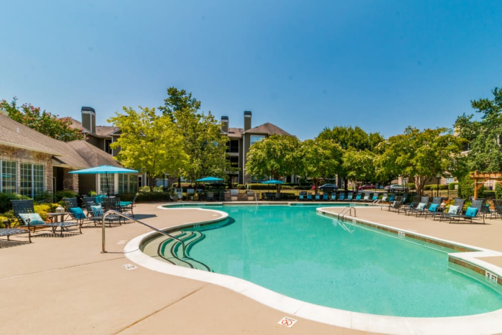 Sparkling pool with lounge chairs surrounding at Marquis at Carmel Commons in Charlotte, North Carolina
