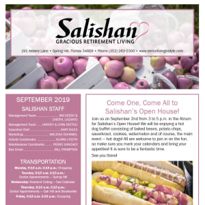 September Salishan Gracious Retirement Living Newsletter