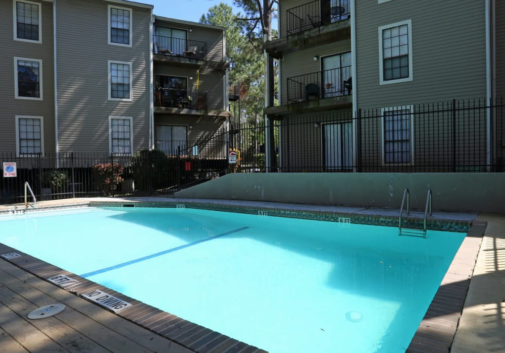 Outside pool at Cornerstone Apartments in Huntsville, Texas
