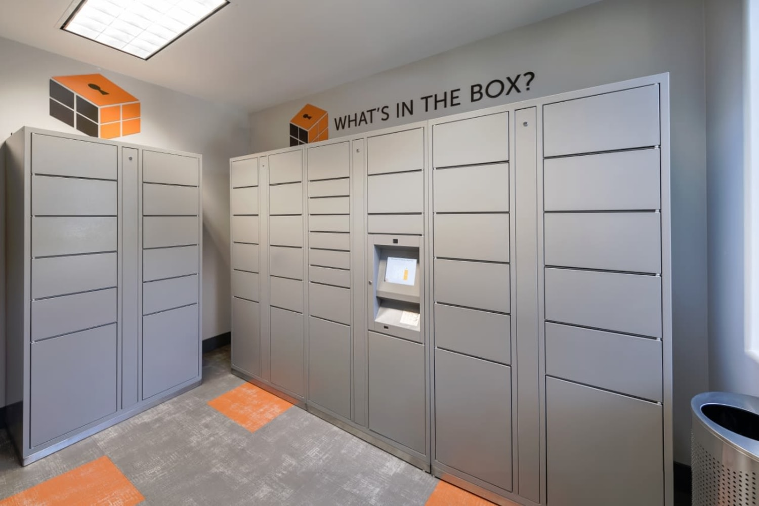 Mail room at Madrid Apartments in Mission Viejo, California