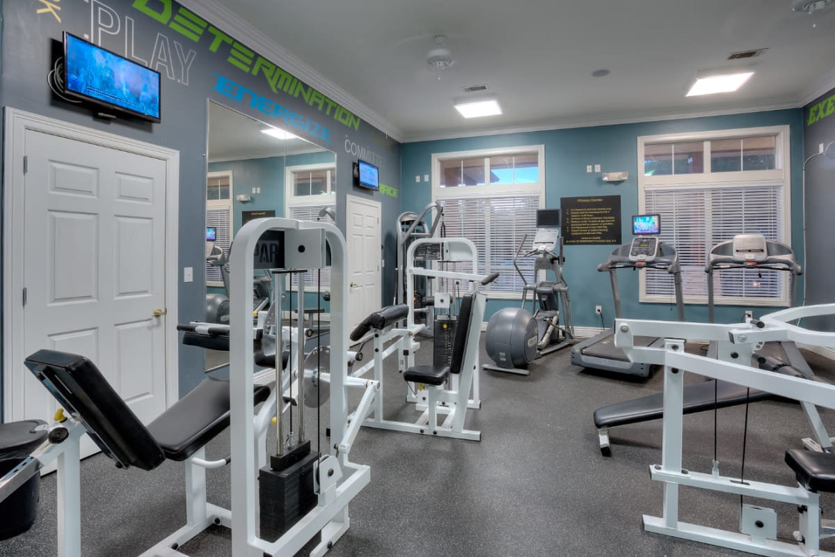 Fully equipped fitness center at Marquis Bandera in San Antonio, Texas