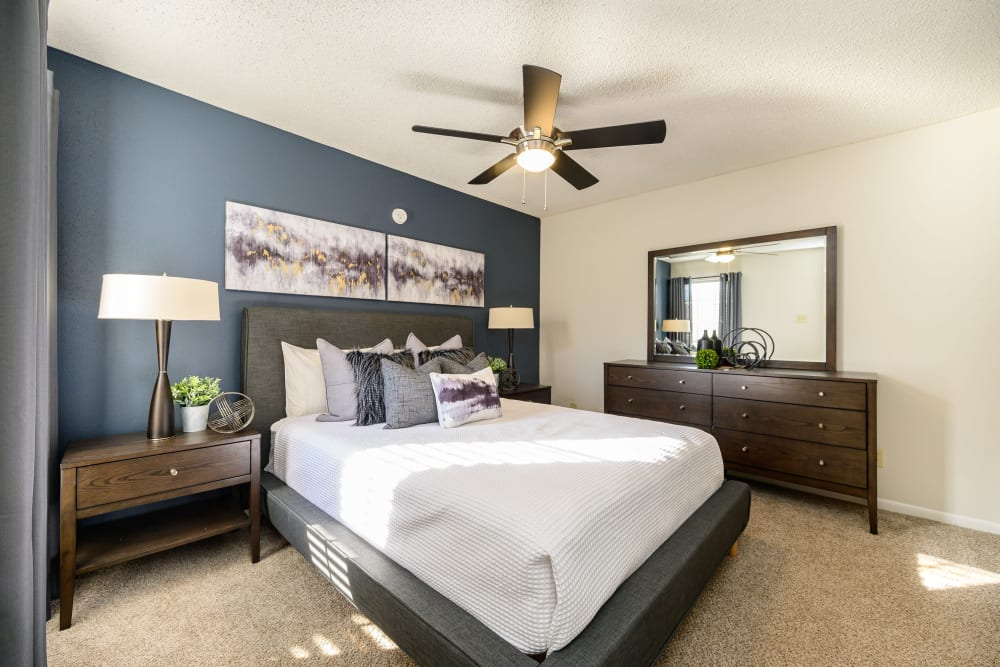 Bedroom with ceiling fan at Laurel Heights at Cityview in Fort Worth, Texas