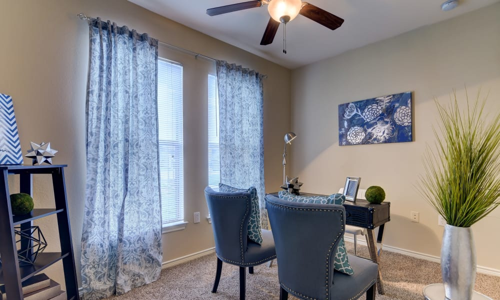Apartment interior with ceiling fan at Hillstone Ranch Apartments in San Antonio, Texas