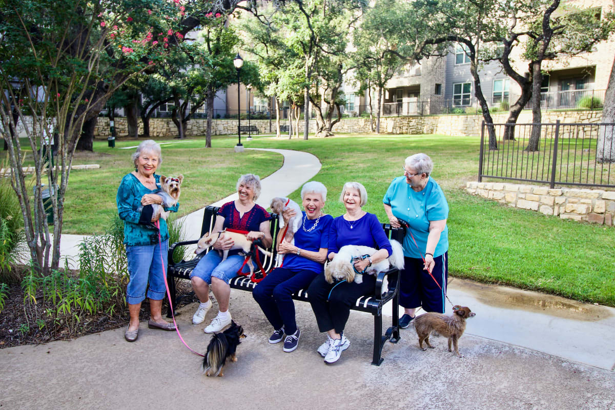 Residents with their dogs at Isle at Watercrest Mansfield in Mansfield, Texas