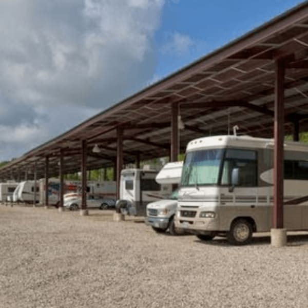 Covered RV, boat, and auto storage at StorQuest Self Storage in Sugar Land, Texas