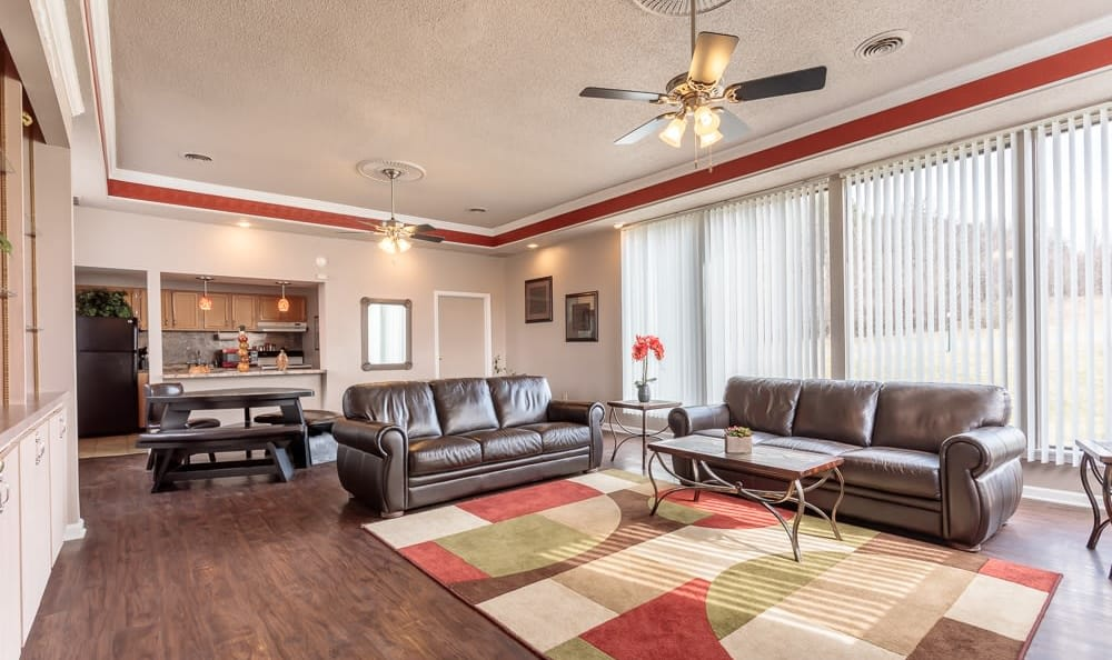 Clubhouse interior at Steeplechase Apartments