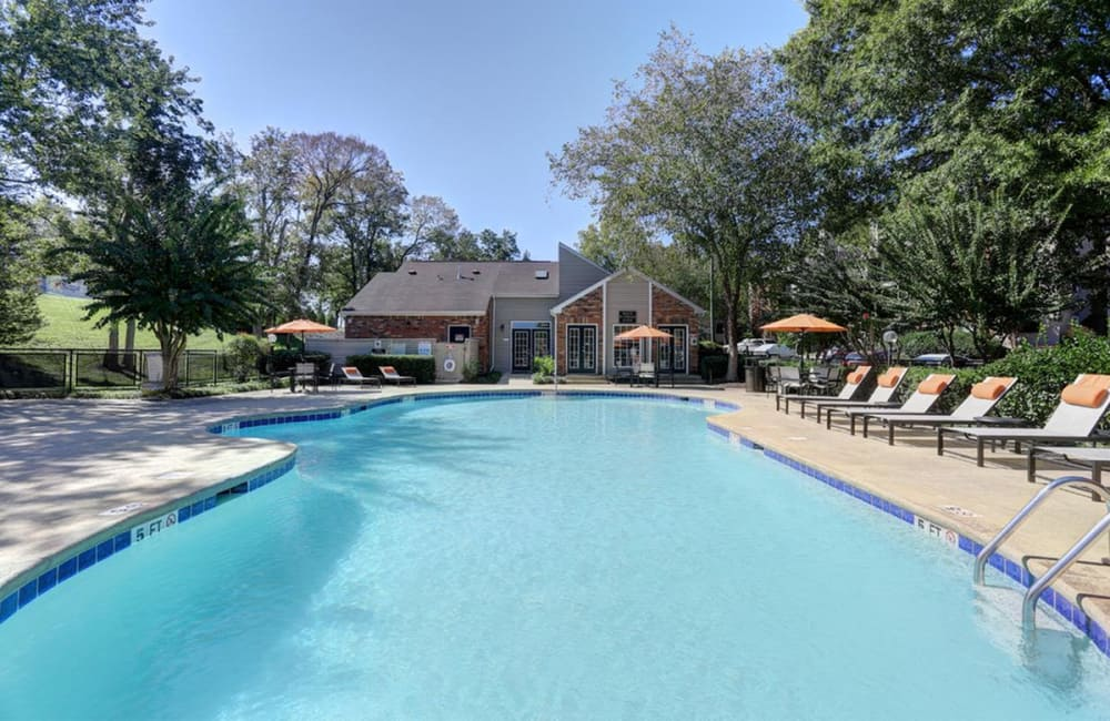 Swimming pool on a beautiful day at Allegro on Bell in Antioch, Tennessee