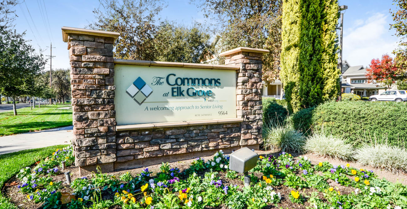 Welcome sign at The Commons at Elk Grove in Elk Grove, California