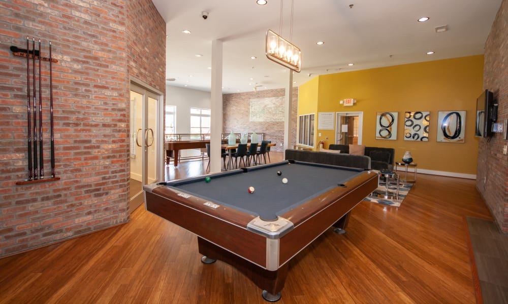 Recreation room with pool table at The Atlantic Aerotropolis in Hapeville, Georgia