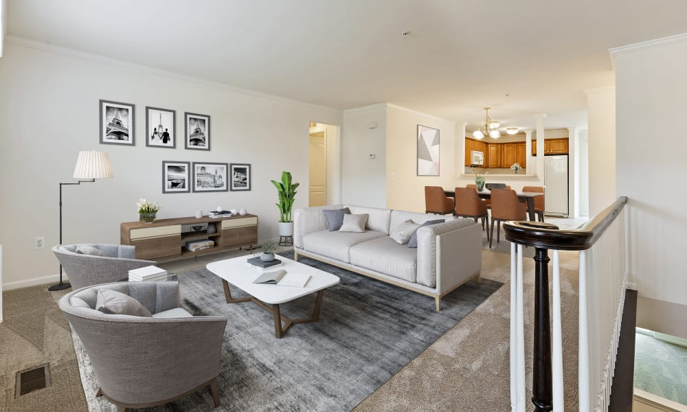 Living room with natural light at CiderMill Village