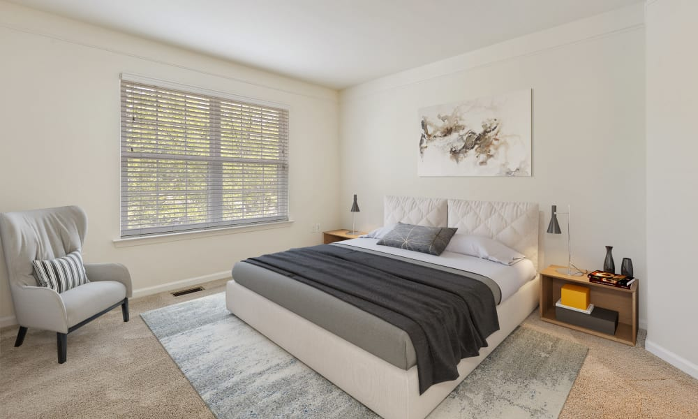 Spacious bedroom of a unit at CiderMill Village