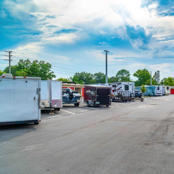Outdoor RV, boat, and auto parking at StorQuest Self Storage in Naples, Florida