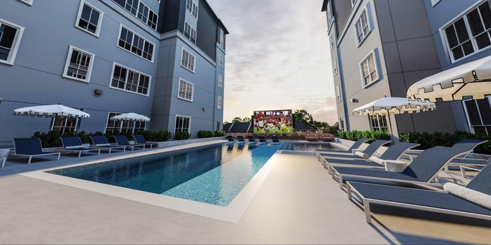 Sparkling swimming pool at HERE Tuscaloosa in Tuscaloosa, Alabama near University of Alabama