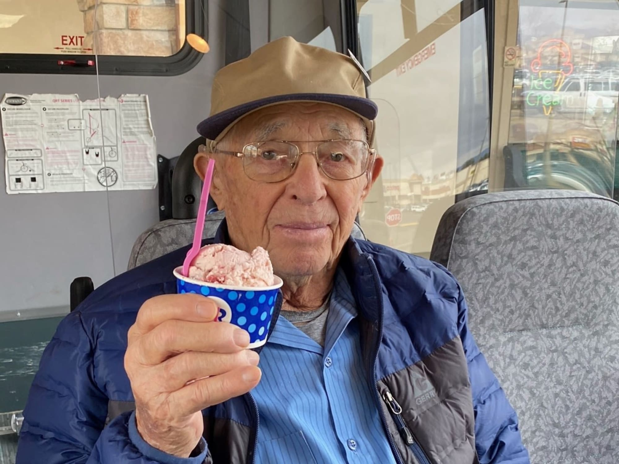 Eating ice cream at Seven Lakes Memory Care in Loveland, Colorado