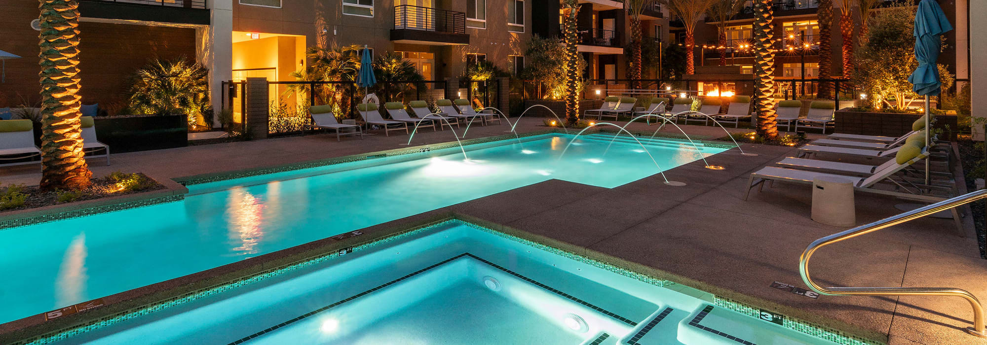 Swimming pool area in the evening at Carter in Scottsdale, Arizona