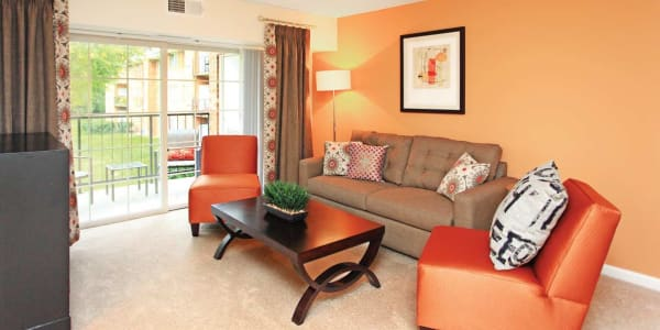 Model living room at Mount Vernon Square Apartments in Alexandria, Virginia