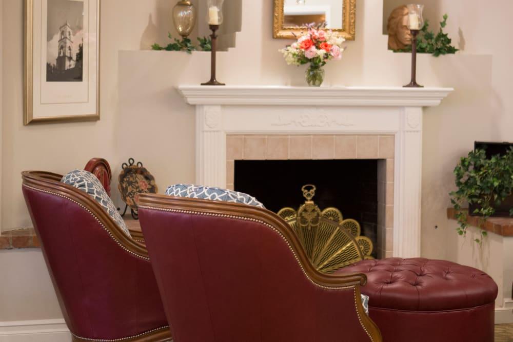 Cozy fireside seating at Gables of Ojai in Ojai, California
