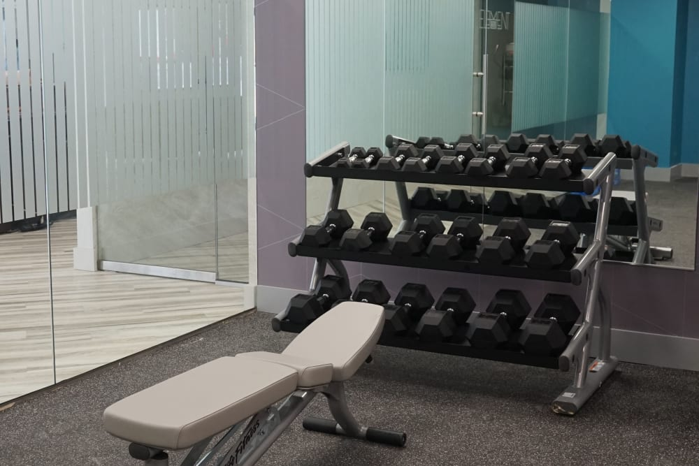 Fitness center equipment at Element 250 in Hartford, Connecticut