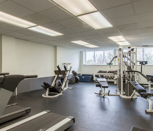 Fully equipped fitness center at The Meadows Apartments in Syracuse, New York