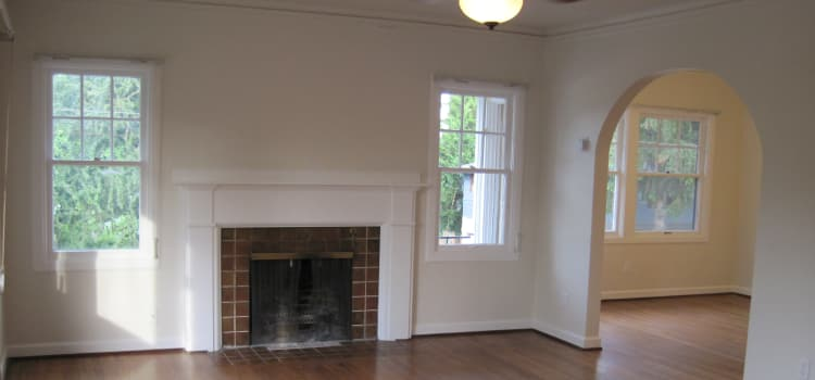 Fireplace in the living room at Halsey Villa in Portland, Oregon