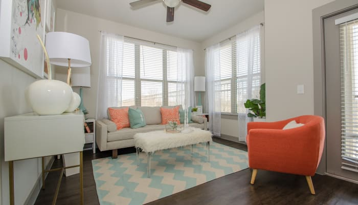 Upgraded living room at Domain at Midtown Park