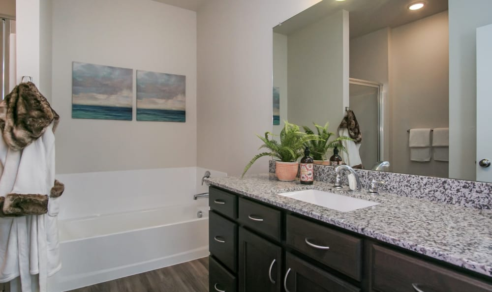 Bathroom  featuring a shower bathtub and large vanity at Liberty Point Townhome Apartments in Draper, Utah