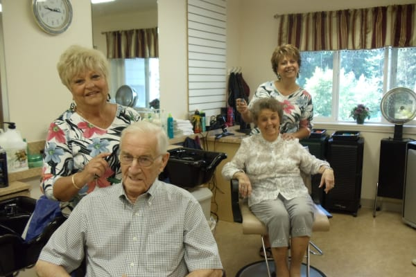 Residents in the hair salon at The Palms at LaQuinta Gracious Retirement Living in La Quinta, California