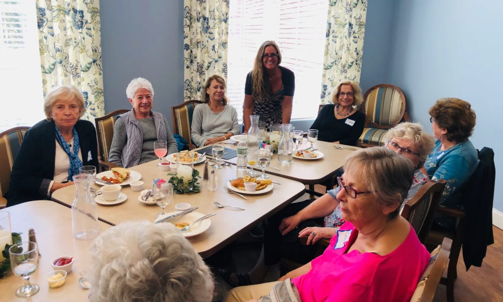 Future Residents and staff members enjoying a meal at Keystone Place at Wooster Heights in Danbury, Connecticut.