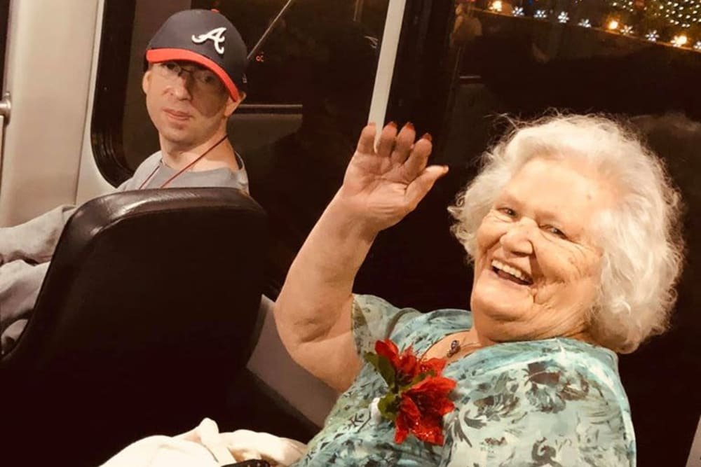 A happy resident on an outing from Bayside Terrace in Pinellas Park, Florida