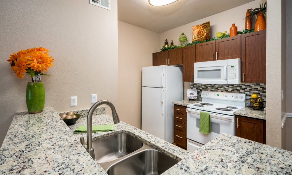 Granite countertops and white appliances in a kitchen at Crescent Cove at Lakepointe in Lewisville, Texas