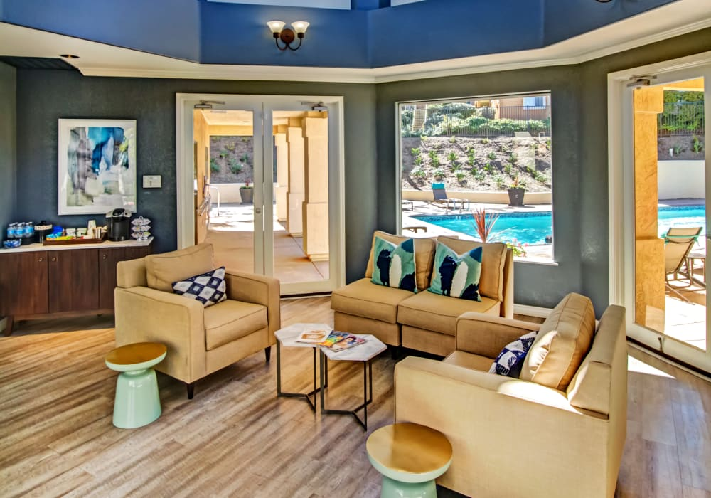 Lavishly decorated clubhouse interior at Sofi Canyon Hills in San Diego, California