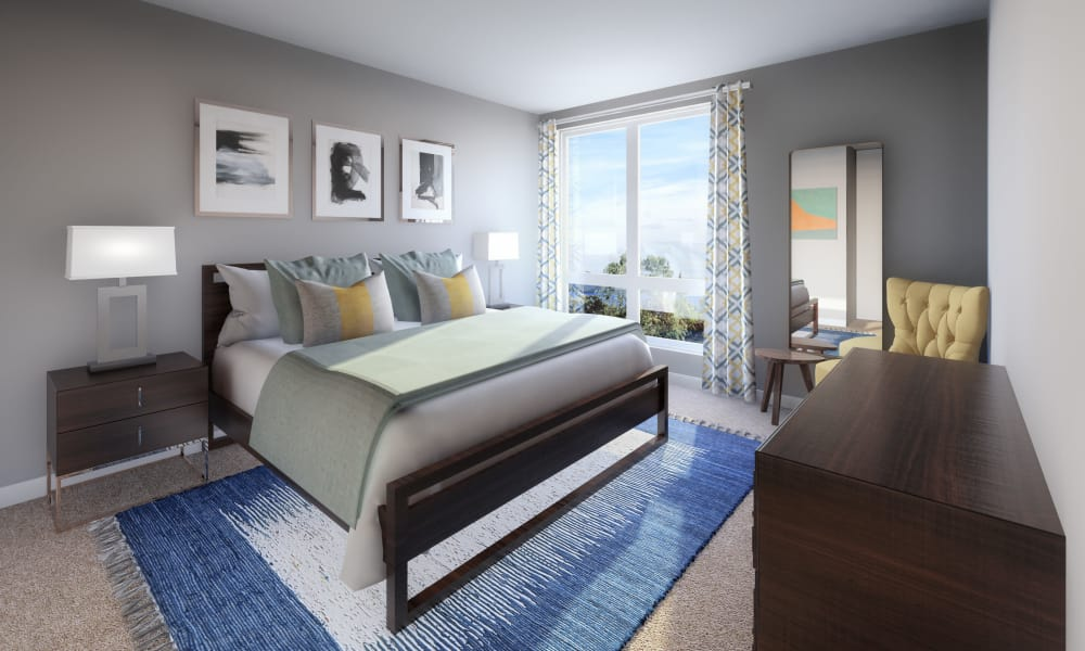 Beautiful bedroom at 50 Front Luxury Apartments in Binghamton, New York