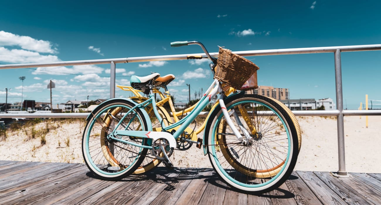Bikes on a sidewalk near Hamilton Court in Morristown, New Jersey
