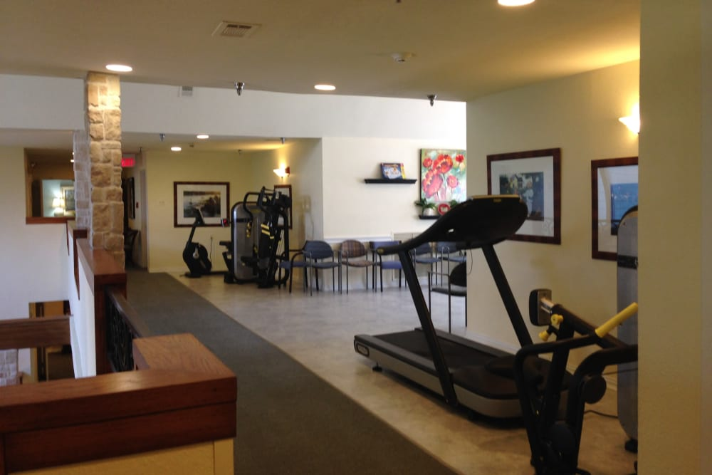 Fitness area at Courtyards at Riverpark in Fort Worth, Texas.