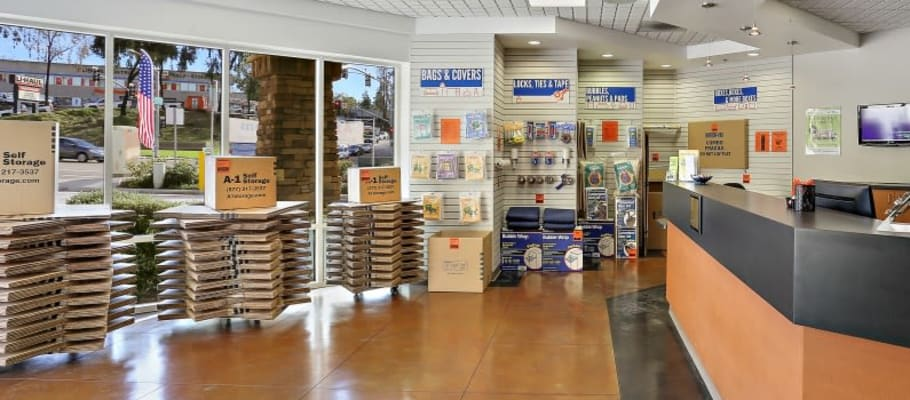 Business center and boxes available at  at A-1 Self Storage in San Diego, California