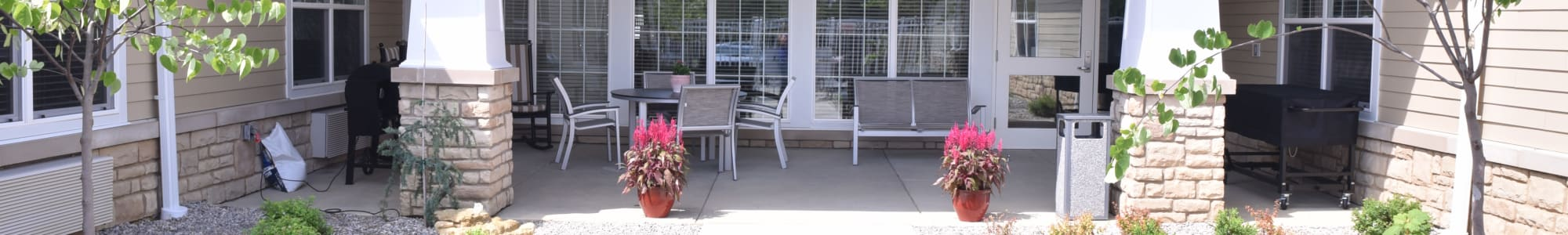 Outdoor patio with seating at Gahanna in Columbus, Ohio.