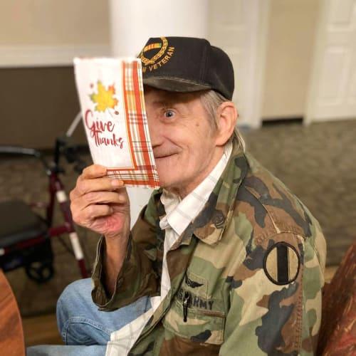 A resident veteran at Canoe Brook Assisted Living in Broken Arrow, Oklahoma