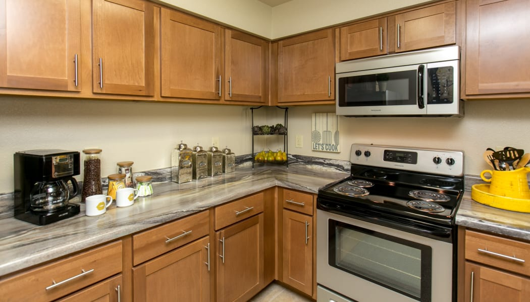 Fully equipped kitchen at Tuscana Bay Apartments in Corpus Christi, Texas